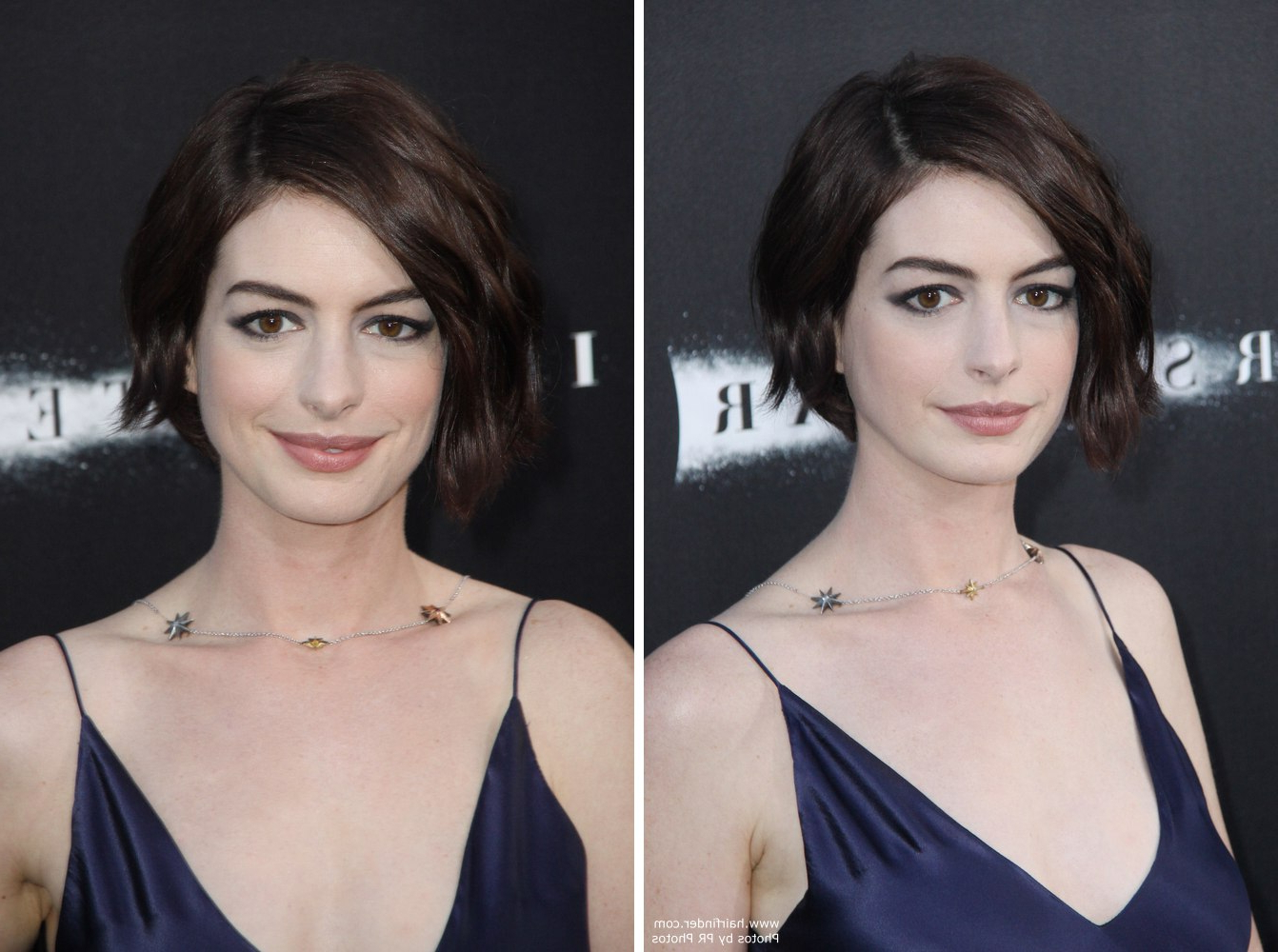 Favorite Anne Hathaway Medium Hairstyles Regarding Anne Hathaway Wearing Her Hair In A Short Wavy Bob (View 8 of 20)