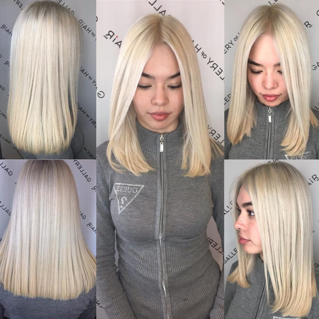 Favorite Center Part Medium Hairstyles With Regard To Women's Blunt Platinum Blonde Lob With Center Part Medium Length (View 6 of 20)