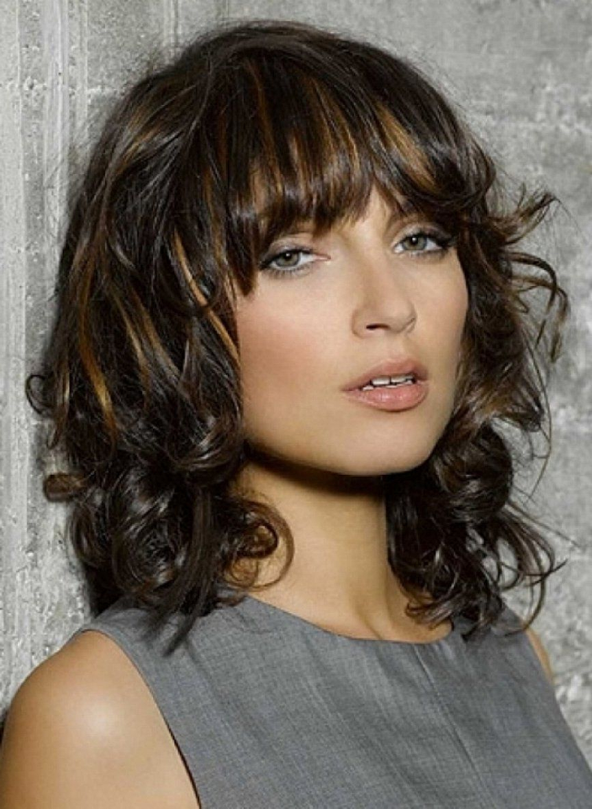 Favorite Medium Haircuts With Curly Hair Intended For Image Result For Caramel Highlights On Dark Brown Curly Hair Medium (Gallery 11 of 20)