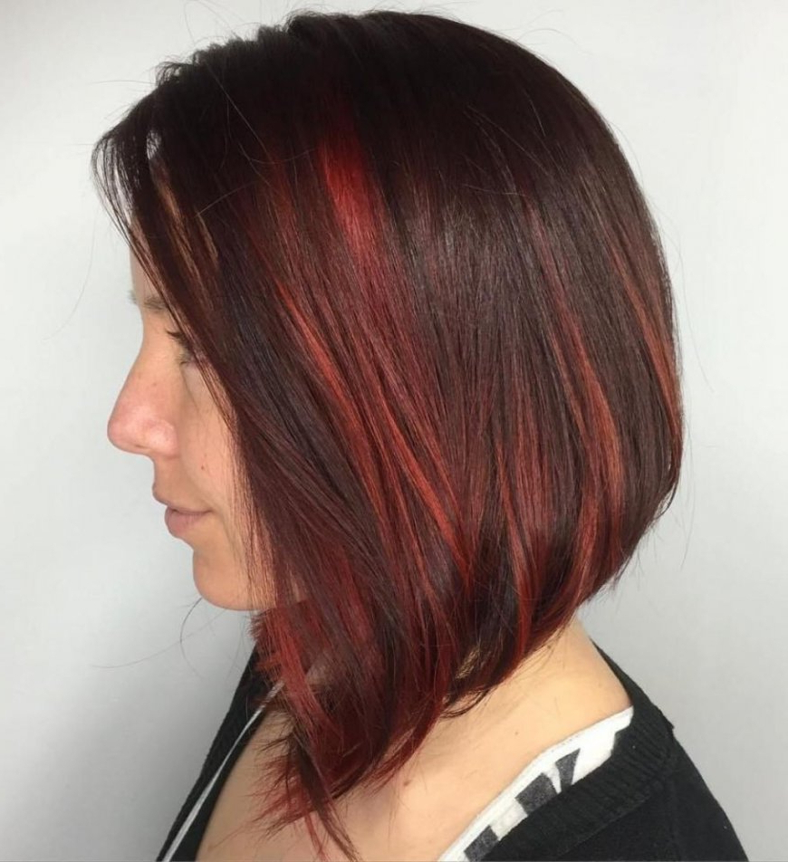 Favorite Medium Hairstyles With Red Highlights Pertaining To √ 24+ Wonderful Hairstyles With Red Highlights: 70 Darn Cool Medium (View 10 of 20)