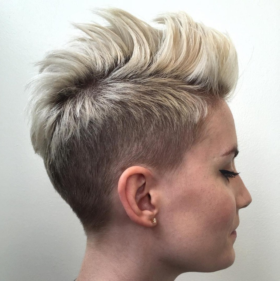 Favorite Pink Pixie Princess Faux Hawk Hairstyles Intended For 17 Female Mohawk Hairstyles That'll Really Turn Heads – Punk  (View 10 of 20)
