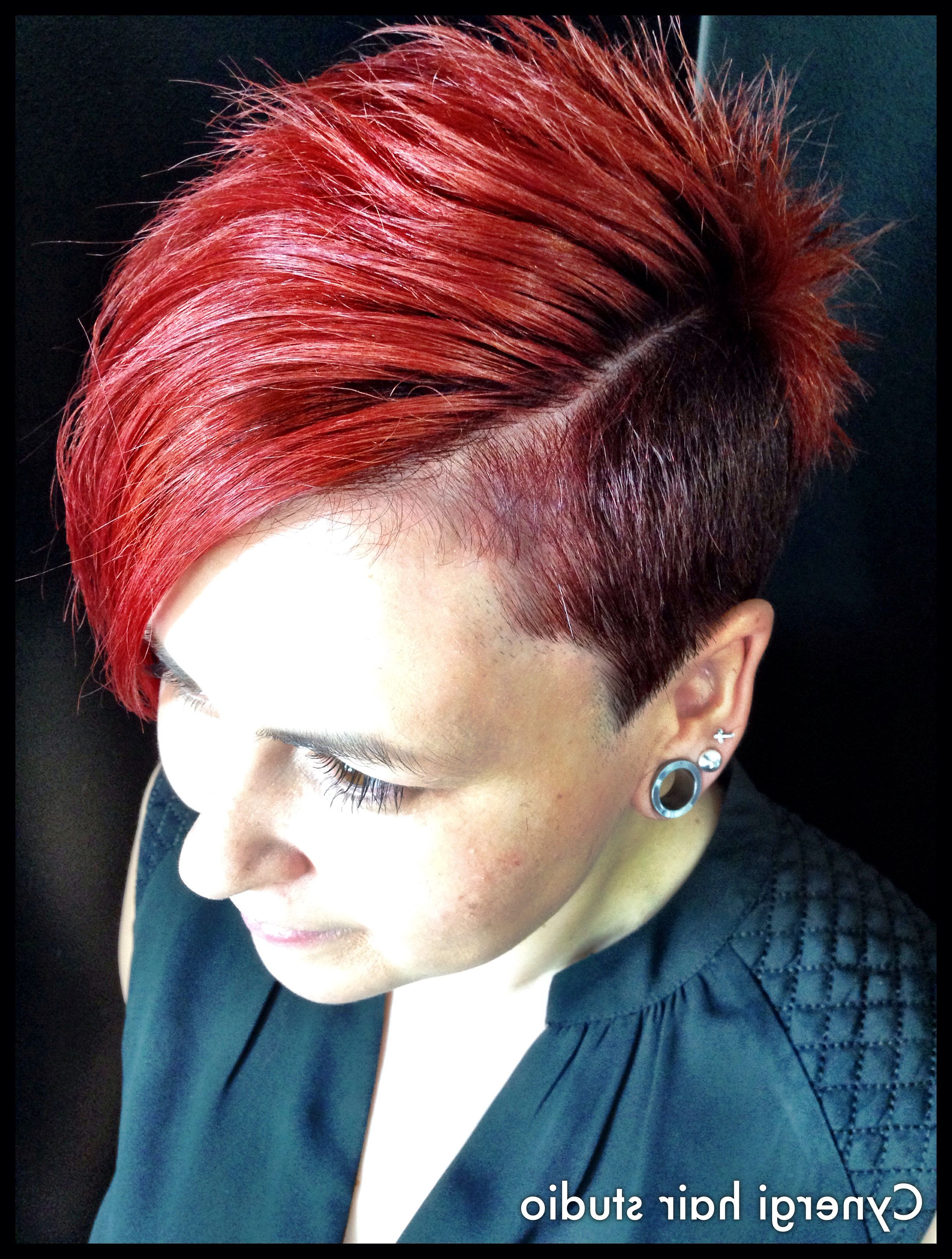 Flame Bright Copper Red Colour, Shaved Side, Undercut , Short Cut Throughout Favorite Vibrant Red Mohawk Updo Hairstyles (View 6 of 20)