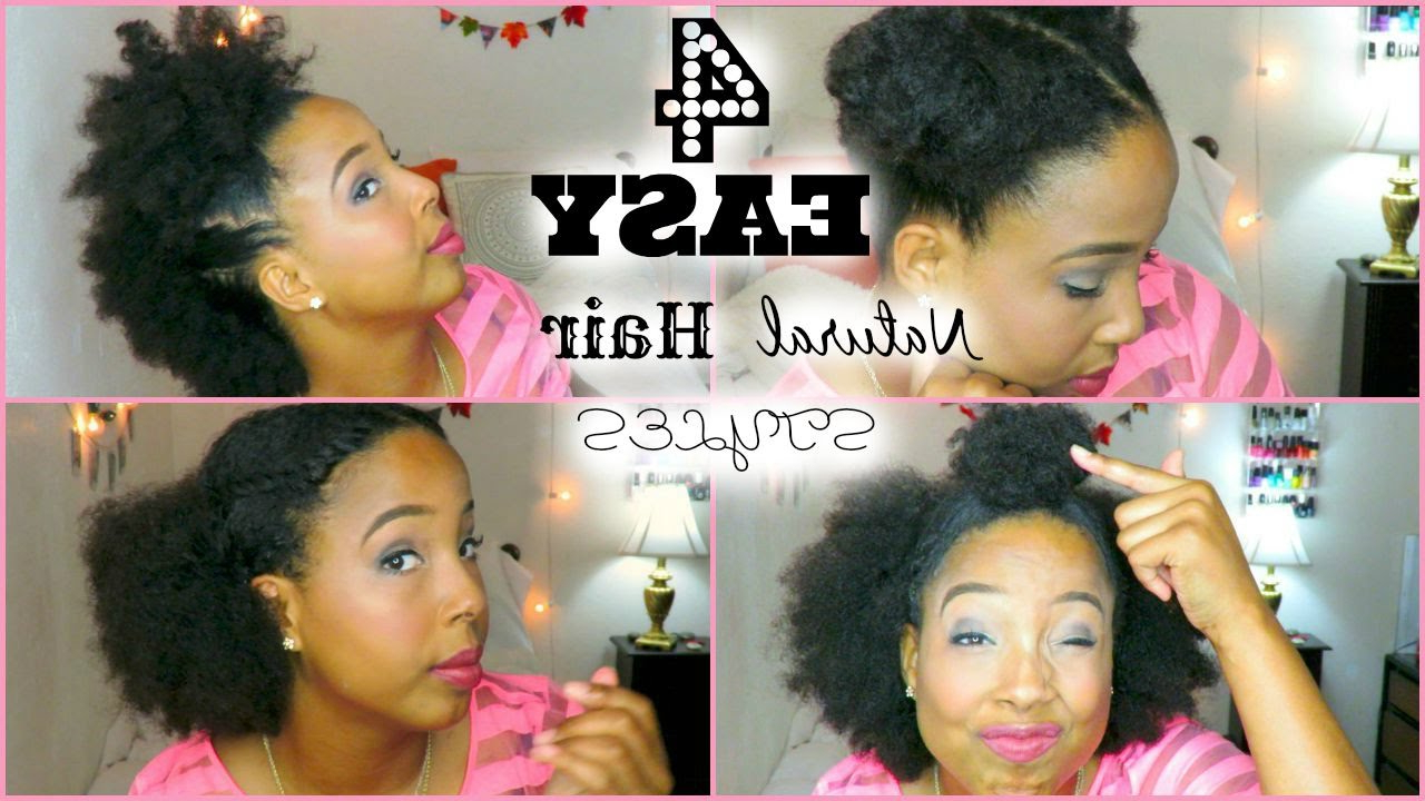 Four Easy Quick Hairstyles For Short/medium Natural Hair – Youtube Within Preferred Afro Medium Hairstyles (View 7 of 20)