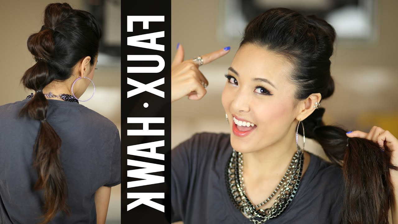 Going Out Hair Ponytail Fauxhawk Tutorial – Youtube Regarding Most Recent Amber Waves Of Faux Hawk Hairstyles (Gallery 20 of 20)