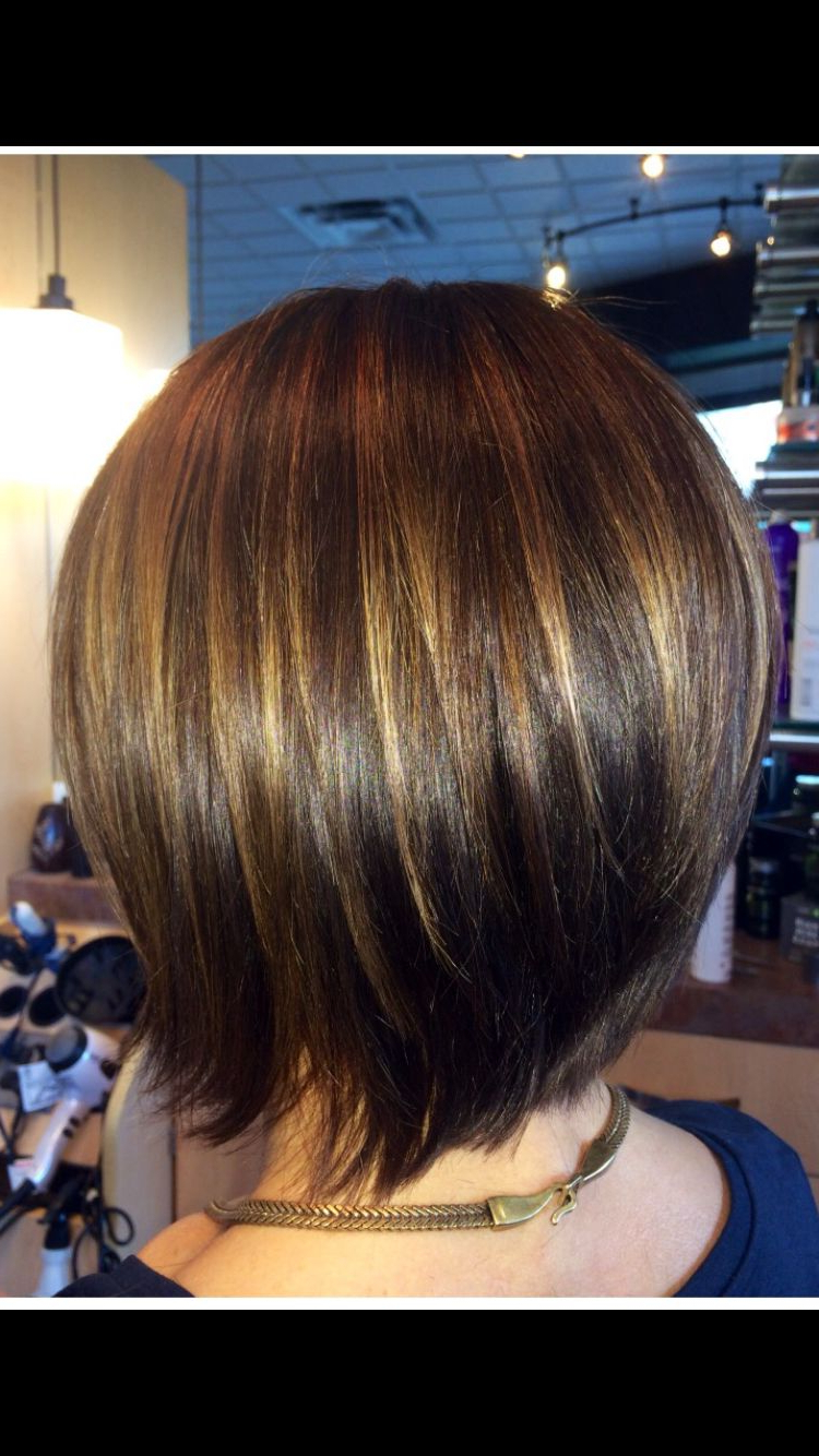 Graduated Bob With Caramel Highlights To Compliment Her Natural Dark For Well Known Point Cut Bob Hairstyles With Caramel Balayage (Gallery 13 of 20)