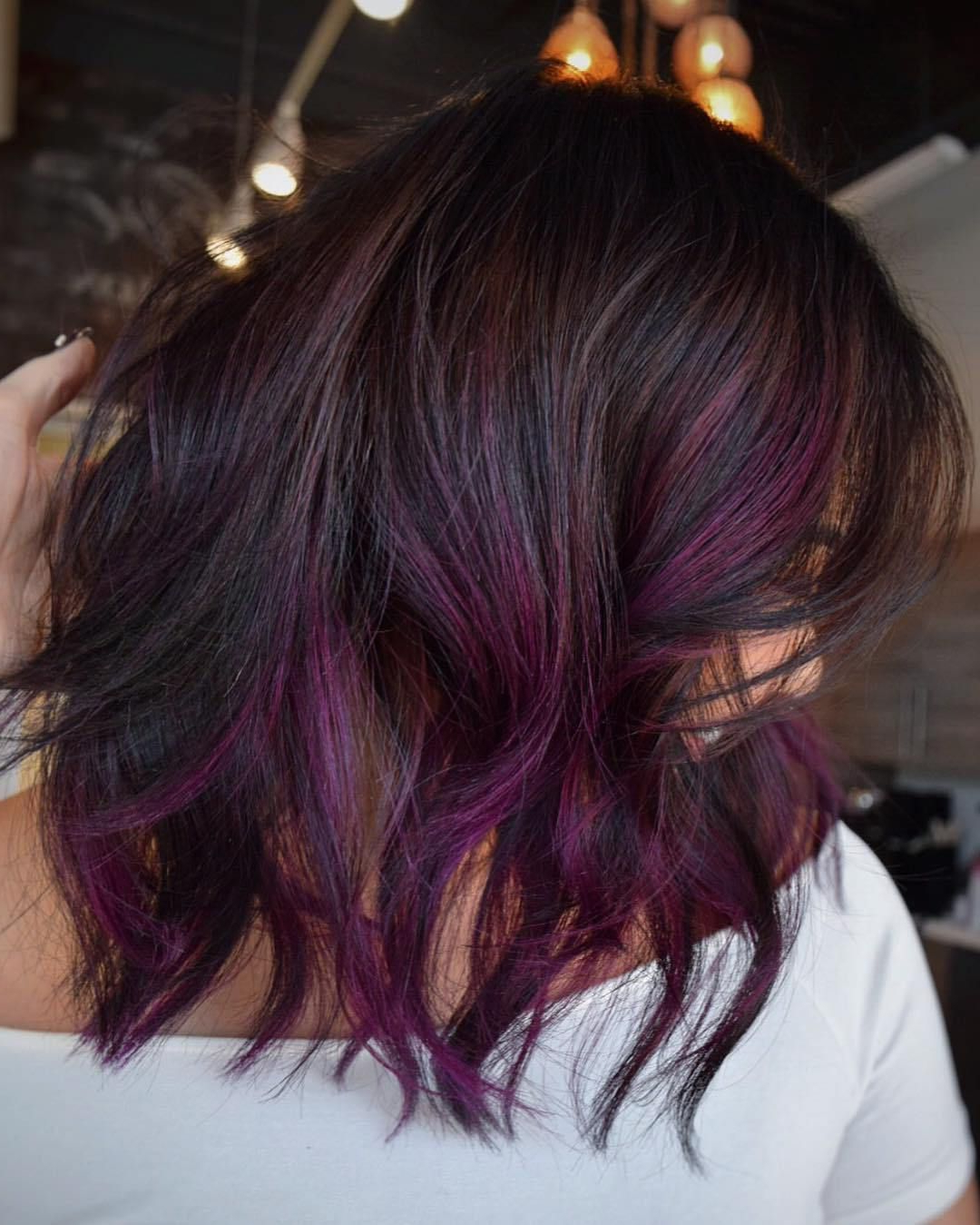 Hair, Clothes, Makeup For Fashionable Purple Medium Hairstyles (View 16 of 20)