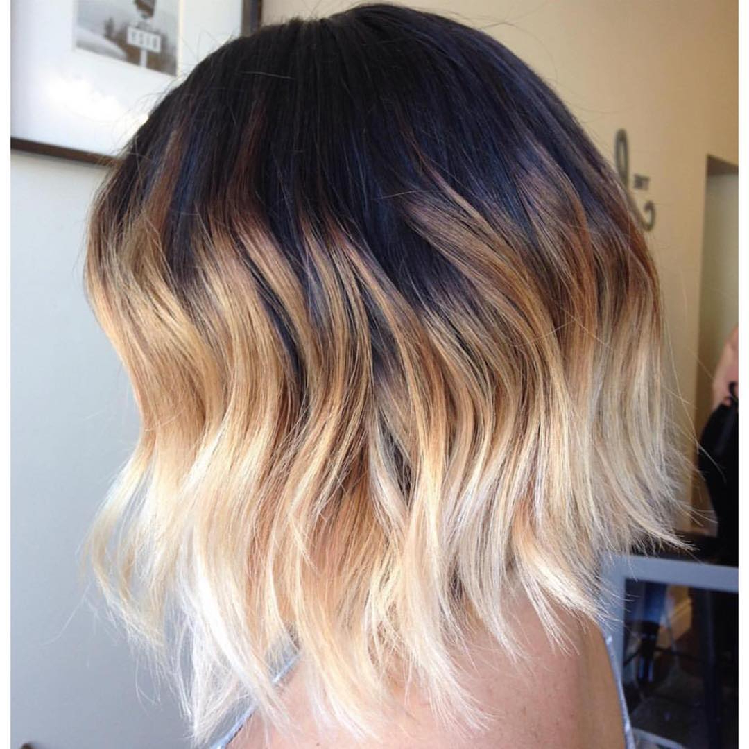 Hair Color : Brunette Ombre Hair Medium Length Bob With Bangs Color Regarding Most Up To Date Medium Haircuts With Fiery Ombre Layers (View 9 of 20)
