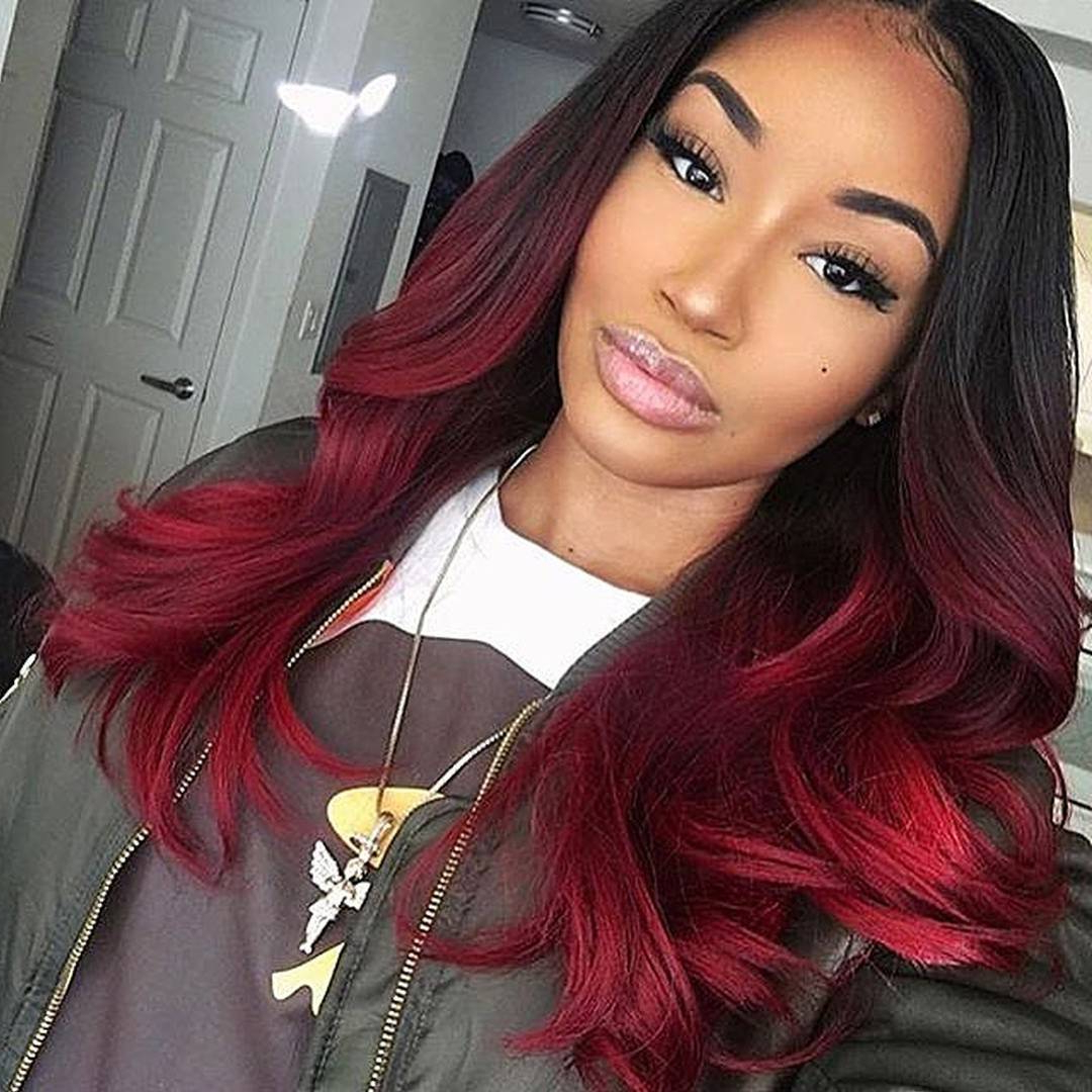 Hair Color : Exciting Red Hairstyles Bob Black Girl Cute For Medium In Most Up To Date Medium Hairstyles With Red Highlights (View 11 of 20)