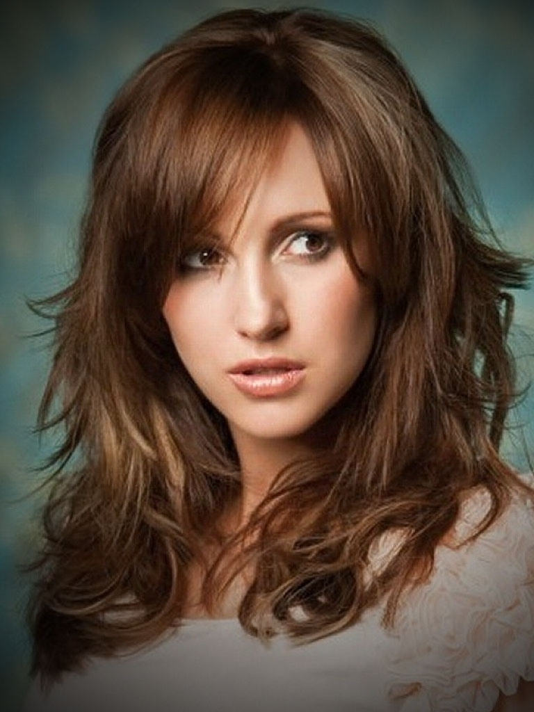 Hair Cuts : Delightful Layered Medium Longcuts Popularstyle Idea Within Most Up To Date Medium Haircuts Bangs (View 9 of 20)