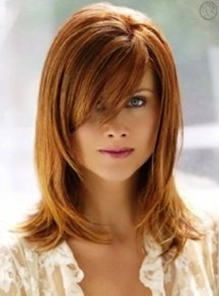 Hair Cuts : Short Layered Haircuts Side Bangs Hairstyles Ideas With Regard To Fashionable Medium Haircuts With Side Fringe (View 13 of 20)