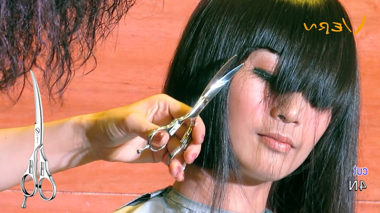 How To Cut Medium Bob Haircut With Angled Blunt Bangscherry?日韓 In Preferred Blunt Cut Medium Hairstyles (View 14 of 20)