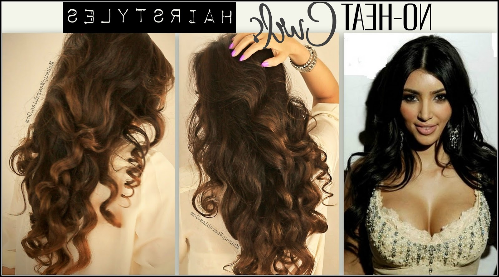 Kim Kardashian Hairstyles, How To No Heat Curls (Gallery 20 of 20)