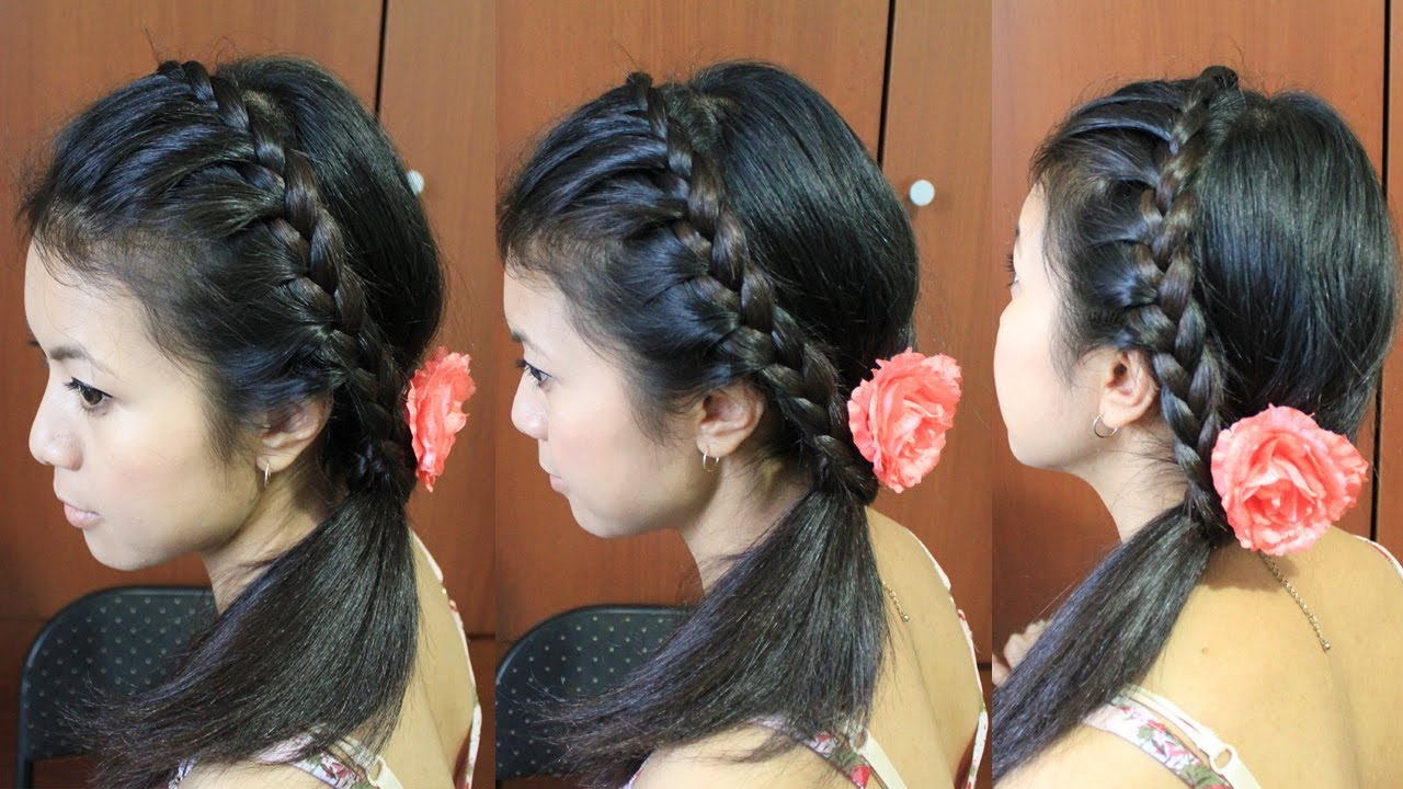 Lace Braid Headband Hairstyle For Medium Long Hair Tutorial – Youtube Pertaining To Recent Medium Hairstyles With Headbands (Gallery 10 of 20)