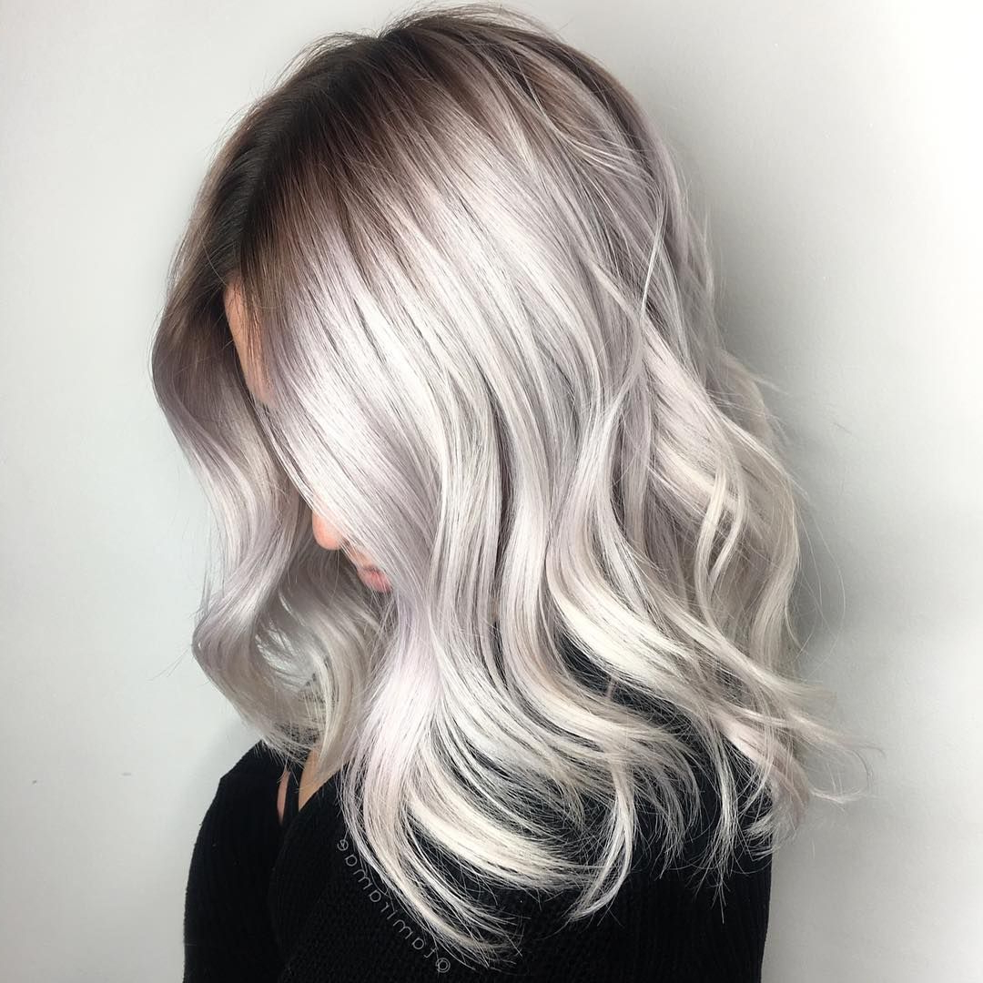 Large Waves: Blonde Platinum Silver Hair With Wavy Curls And Medium With Regard To Trendy Platinum Blonde Medium Hairstyles (Gallery 5 of 20)