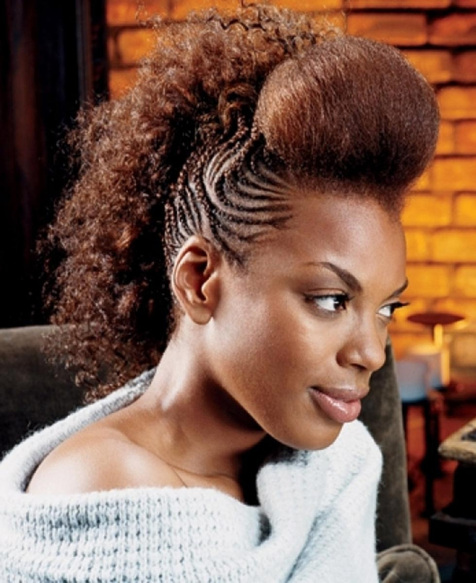 Latest Curl–Accentuating Mohawk Hairstyles Throughout Mohawk Braids: 12 Braided Mohawk Hairstyles That Get Attention (View 5 of 20)