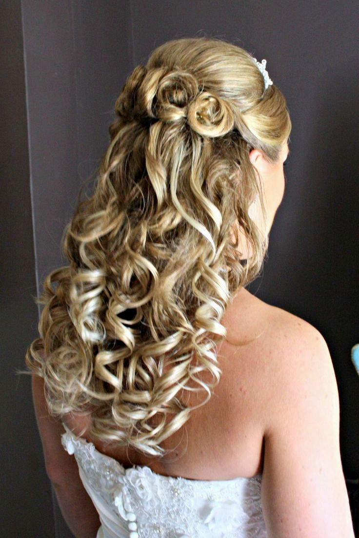 Latest Down Medium Hairstyles Throughout Wedding Hairstyles : Weddingstyles For Shoulder Length Half Up Down (Gallery 18 of 20)