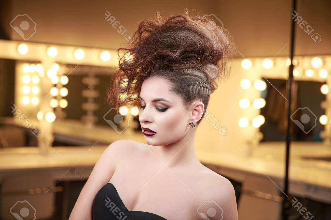 Latest Glamorous Mohawk Updo Hairstyles Throughout High Fashion Model Girl With Mohawk Hairstyle. Beauty Woman With (Gallery 11 of 20)