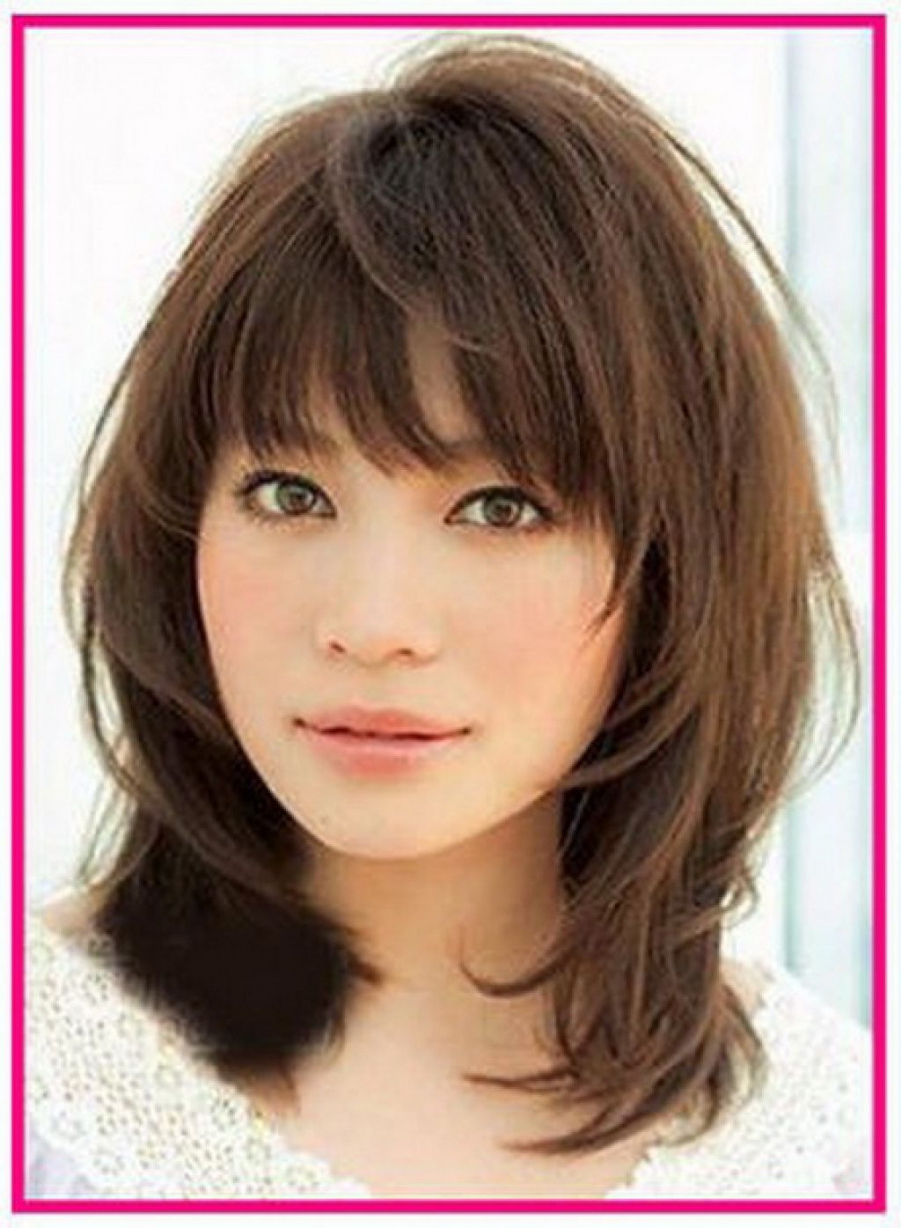 Latest Hairstyles Within Well Known Medium Hairstyles With Bangs (View 17 of 20)
