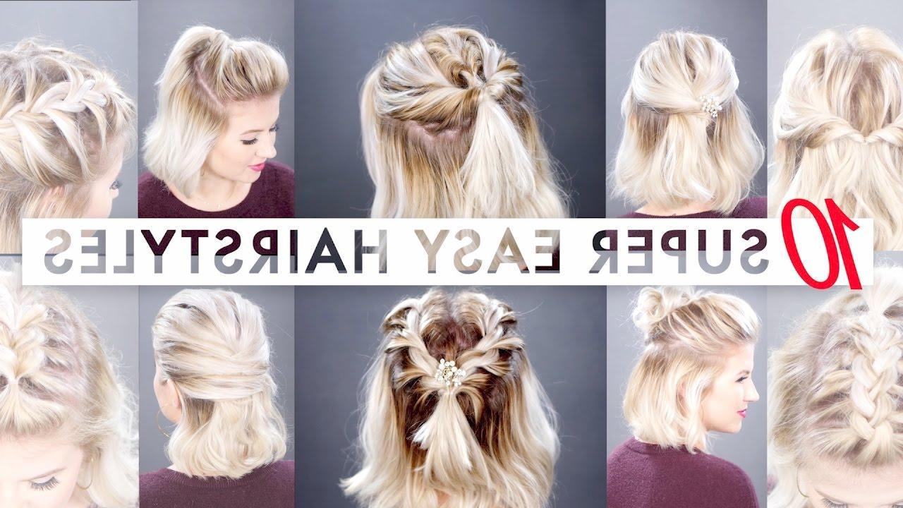 Latest Half Short Half Medium Hairstyles Regarding 10 Easy Half Up Hairstyles For Short Hair Tutorial (Gallery 10 of 20)