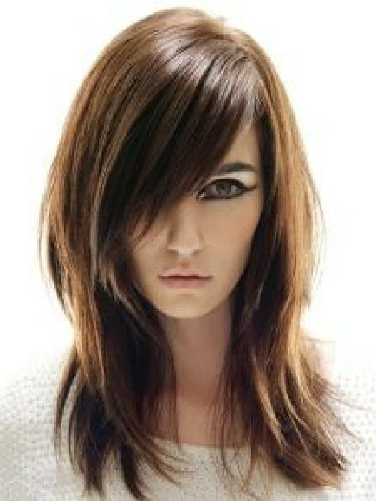Layered Hairstyles For Long Hair With Side Swept Bangs Medium Length Pertaining To Most Recently Released Medium Haircuts With Side Swept Bangs (View 11 of 20)