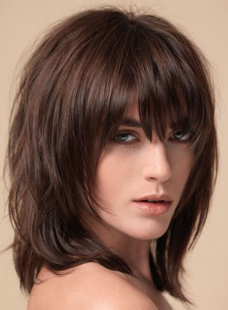 Layered Shag Hairstyle With Full Fringe Middle Length Synthetic Within Well Liked Medium Haircuts With Full Bangs (Gallery 7 of 20)