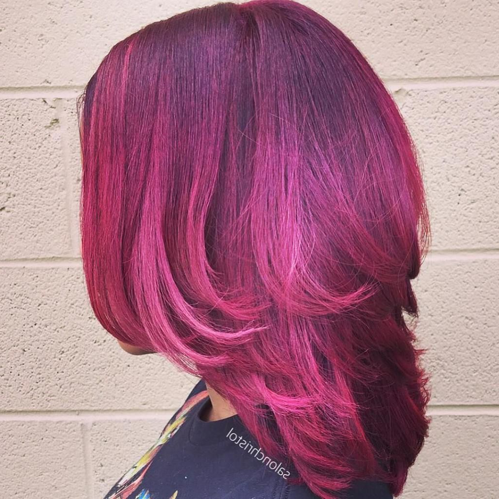 Layering, Hot Within Well Liked Pinks Medium Haircuts (View 9 of 20)