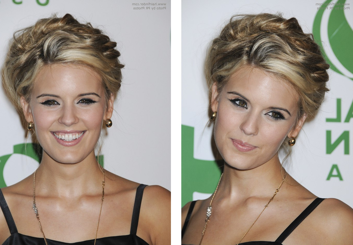 Maggie Grace's Hair Worn Up And Sarah Roemer's Hair In Long Layers Regarding Most Current Medium Hairstyles For High Cheekbones (View 11 of 20)