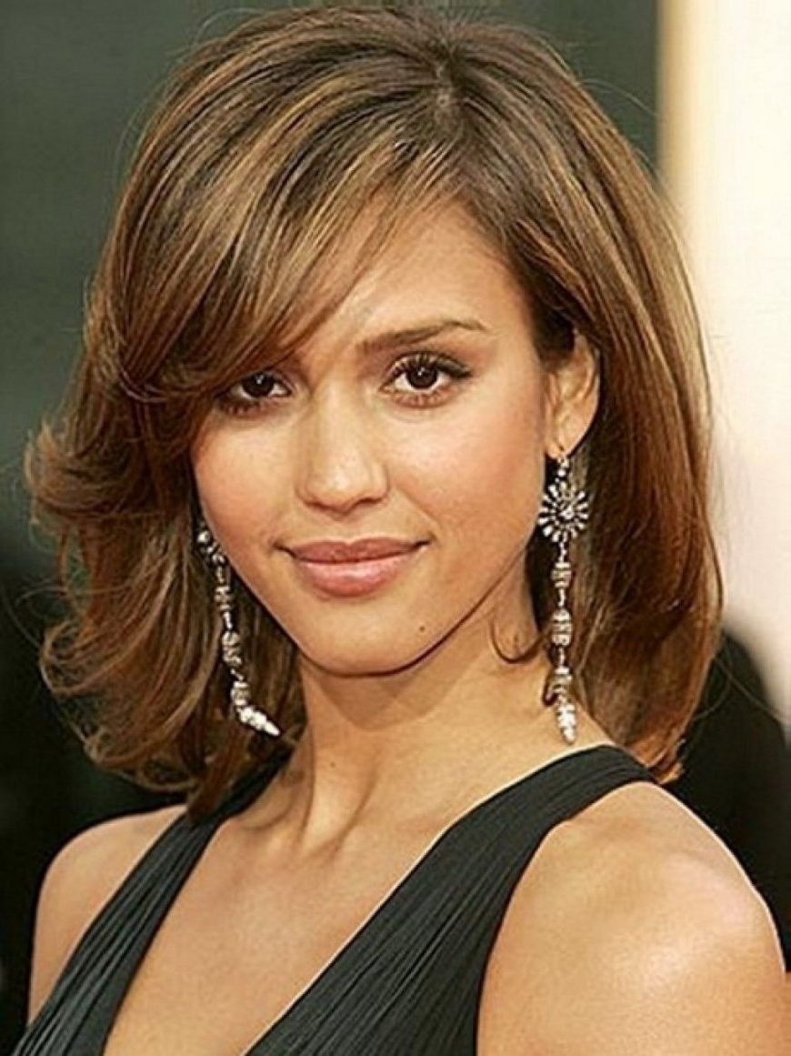 Photo Gallery of Medium Hairstyles For Thin Fine Hair And Round Face ...
