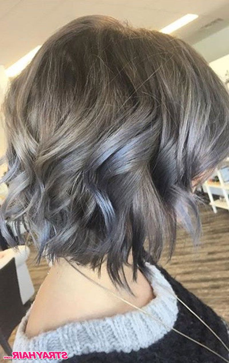 Medium Length Wavy Silver Gray Hair Color … (View 2 of 20)