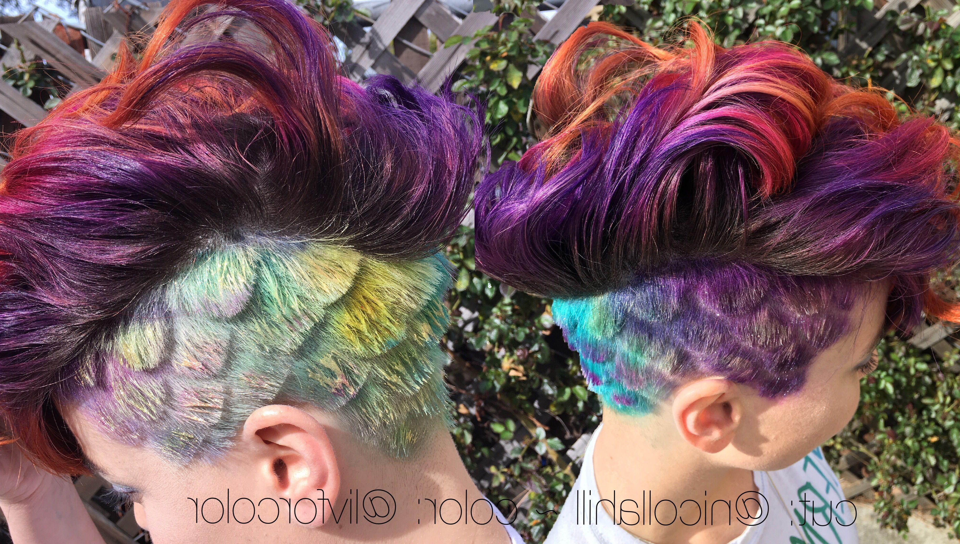 Mermaid Hair Mohawk Undercut Scales Rainbow Purple Hair Orange Hair Regarding Newest Rainbow Bright Mohawk Hairstyles (View 11 of 20)