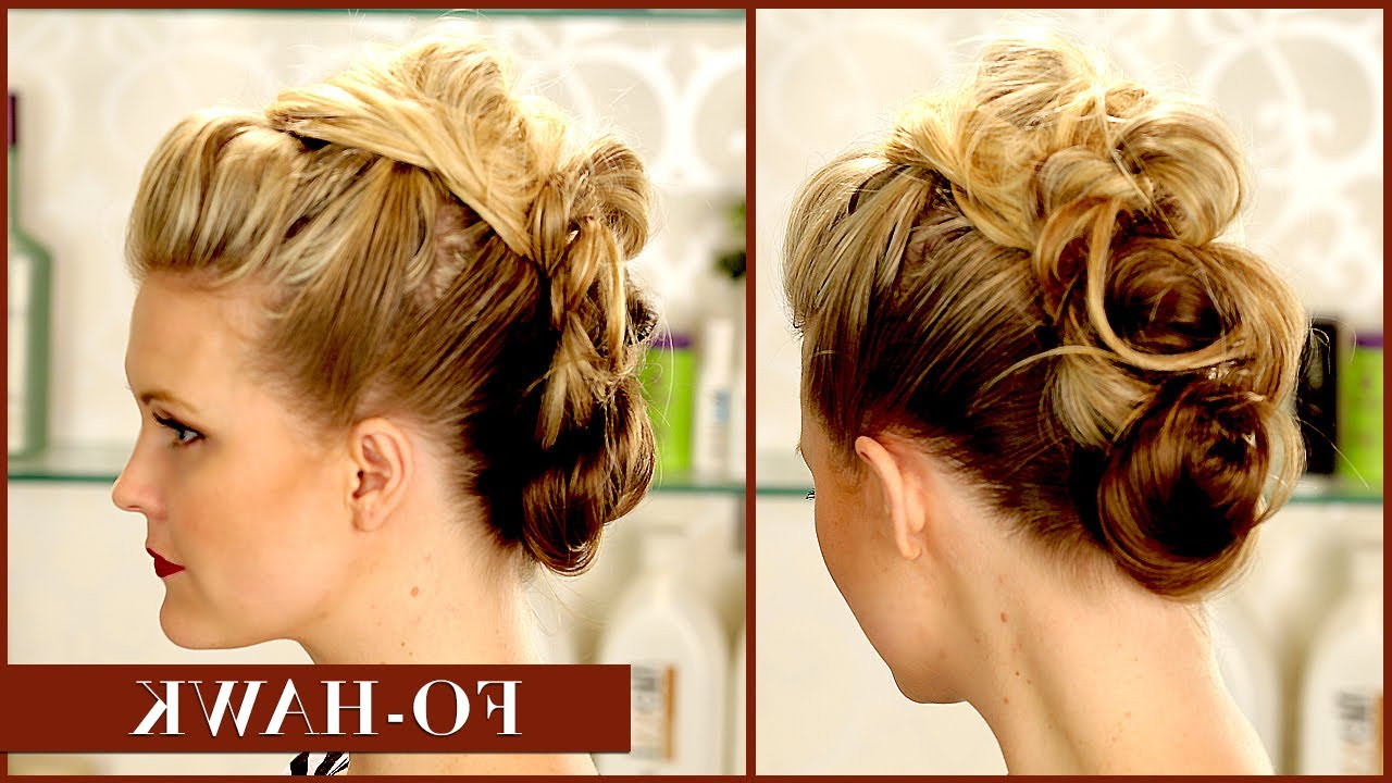 Messy Bun Faux Hawk!! – Youtube With Regard To Most Recent Messy Hawk Hairstyles For Women (View 12 of 20)