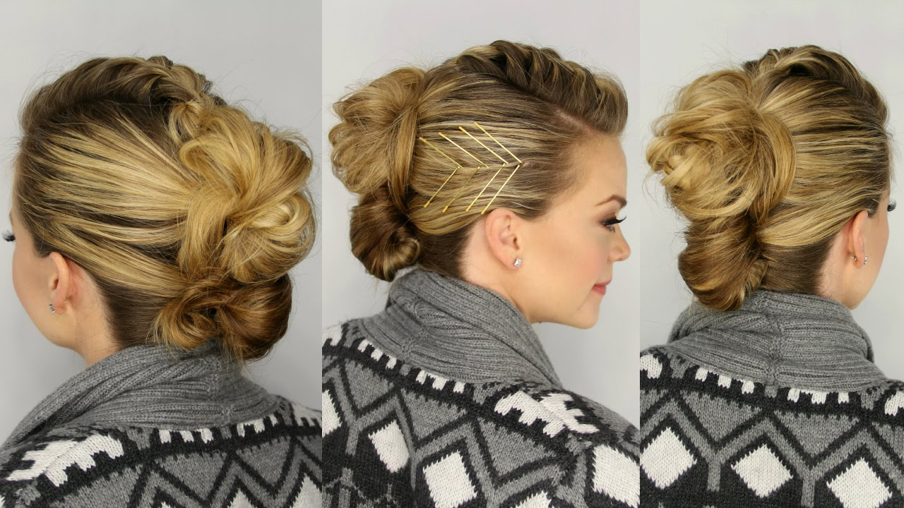 Mohawk French Braid Updo – Youtube Inside Well Liked French Braid Pinup Faux Hawk Hairstyles (View 16 of 20)