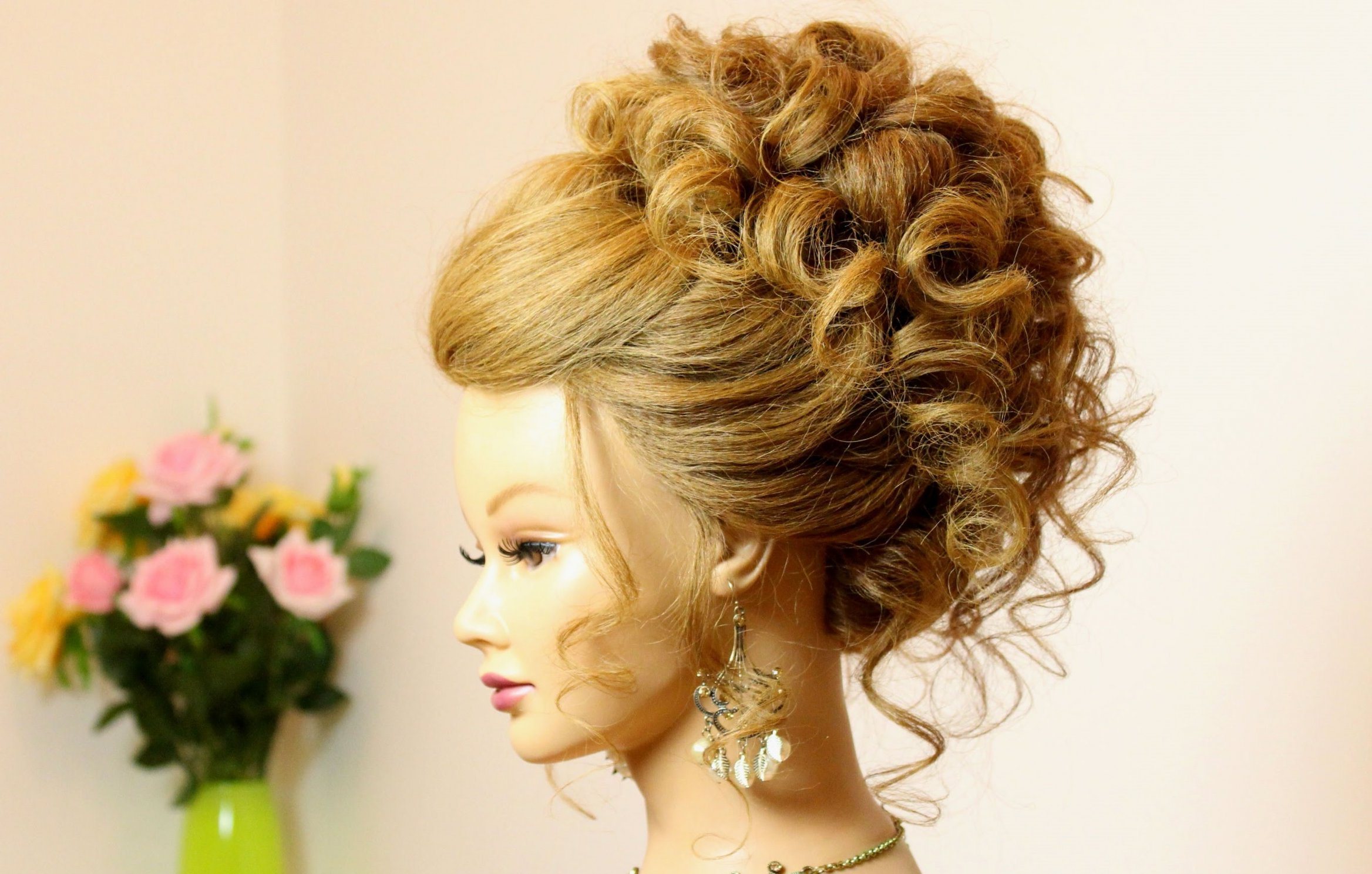 Most Current Curly Medium Hairstyles For Prom Pertaining To Curly Hairstyle For Long Medium Hair. Wedding Prom Updo (View 8 of 20)