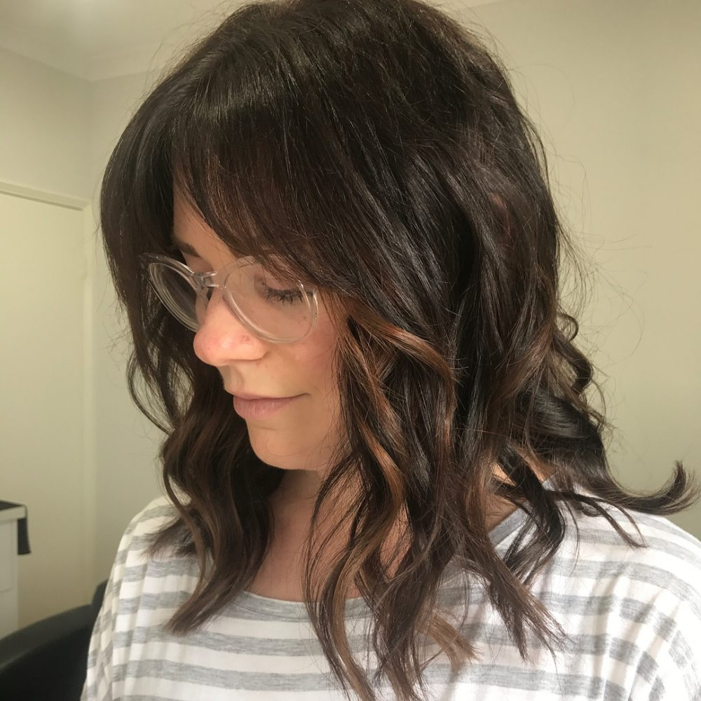 Most Current Medium Haircuts Styles For Black Hair Pertaining To 53 Popular Medium Length Hairstyles With Bangs In  (View 13 of 20)