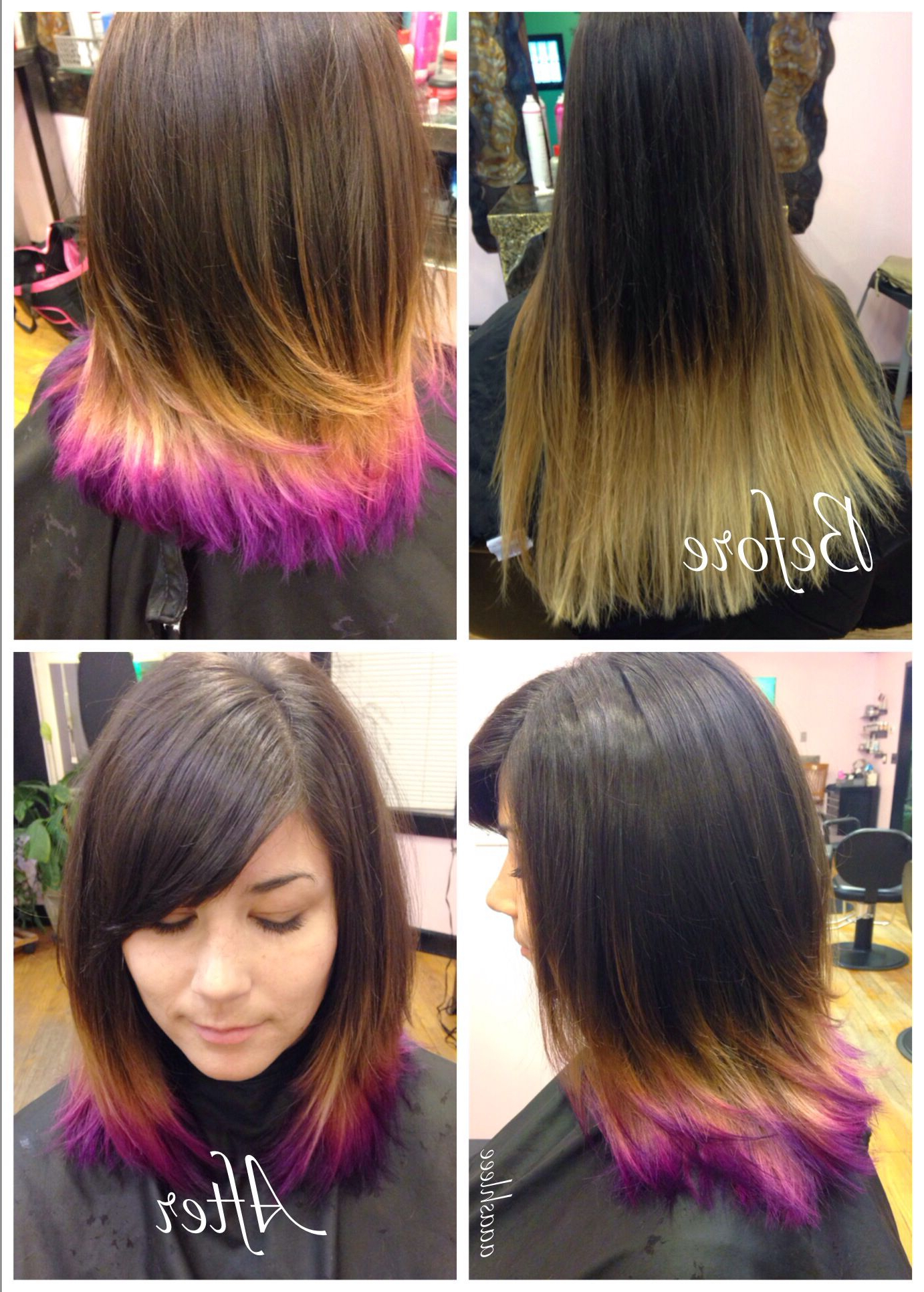 Most Current Pinks Medium Haircuts In Ombre Pixie Makeover Medium Length Hair Purple Pink Brown (Gallery 8 of 20)