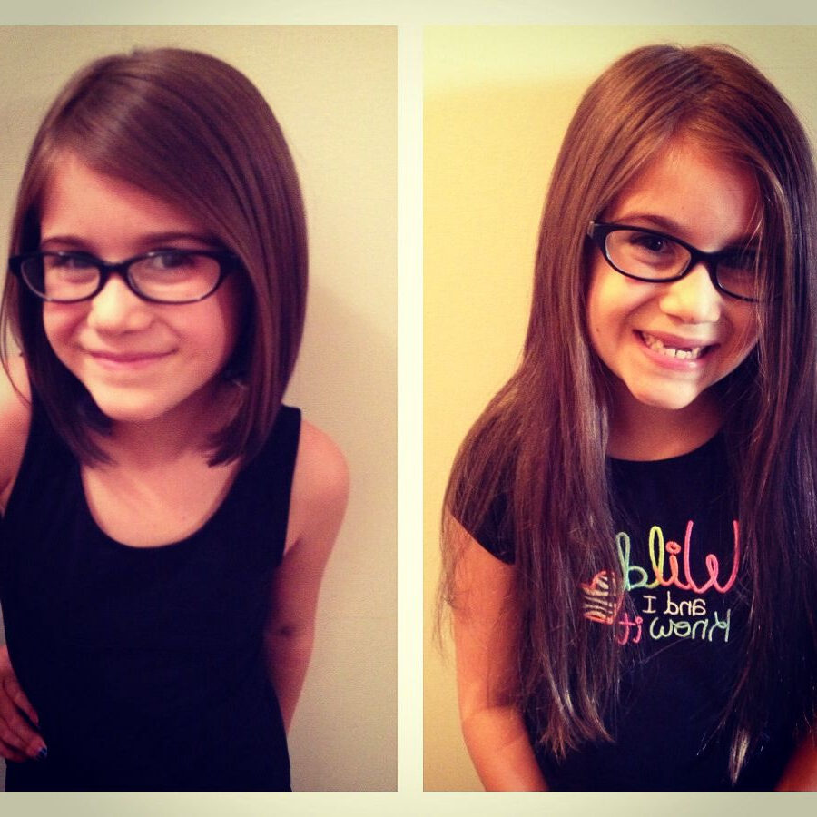 Most Popular Medium Haircuts For Girls With Glasses Throughout After Hannah's Hair Gets Long Enough To Donate, I Think I'll Get Her (View 13 of 20)