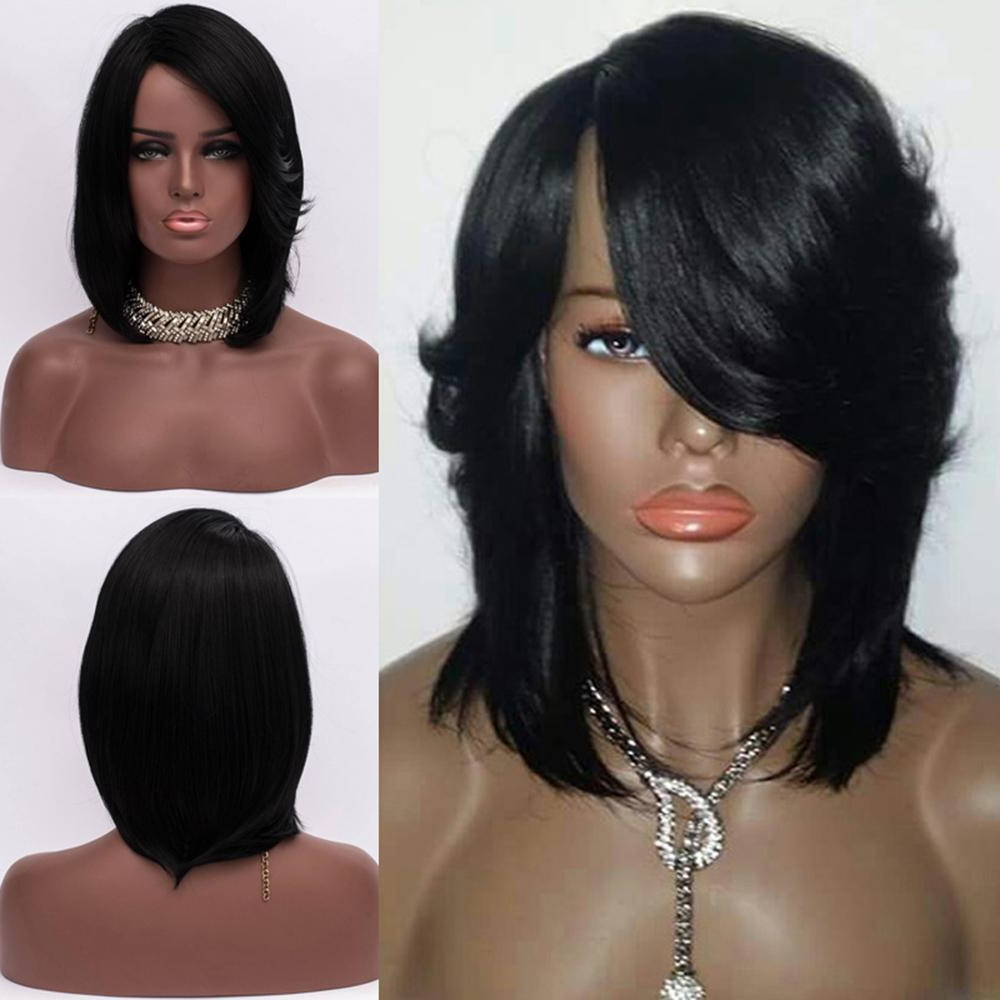 Most Popular Medium Hairstyles With Feathered Sides Throughout Medium Side Part Straight Feathered Bob Synthetic Wig Hair Lace (View 10 of 20)