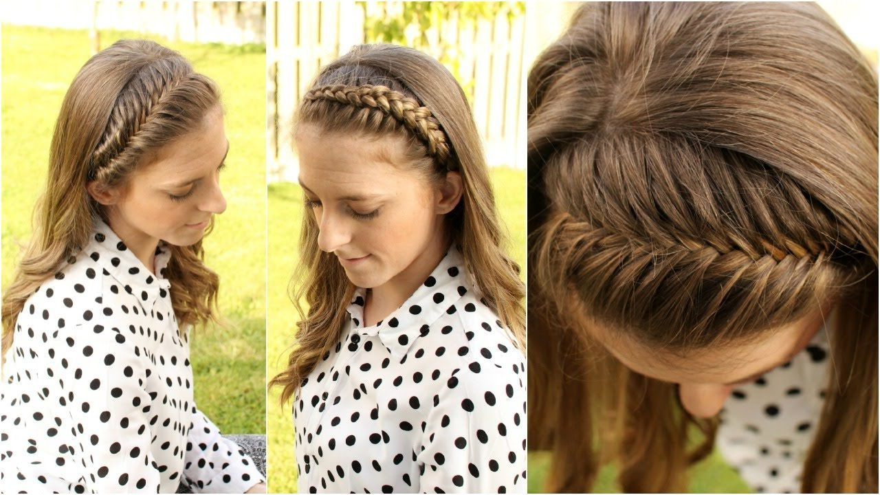 Most Popular Medium Hairstyles With Headband Pertaining To How To : 4 Diy Braided Headband Tutorial For Short Medium Long Hair (View 10 of 20)