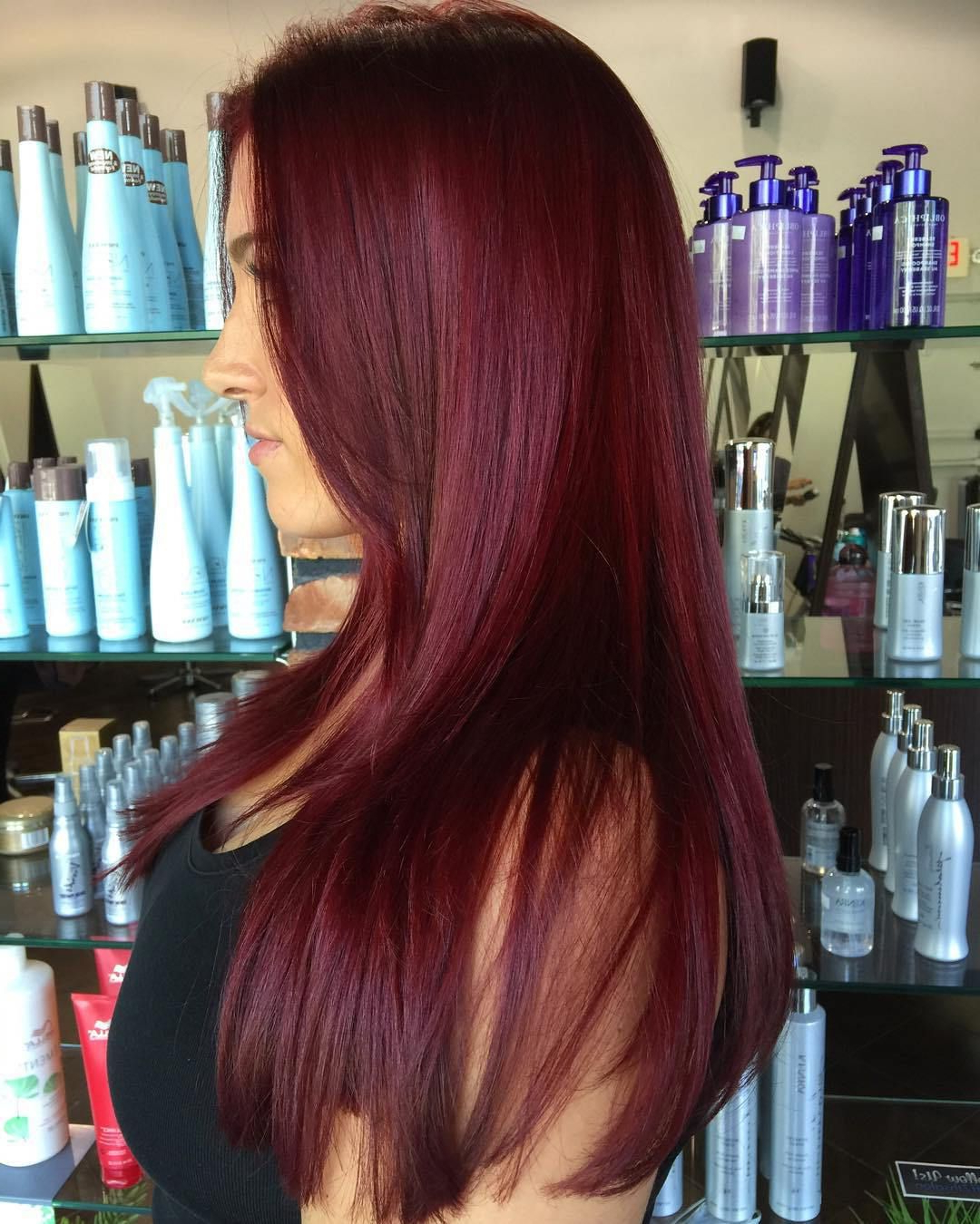 Most Popular Red And Black Medium Hairstyles Inside 45 Shades Of Burgundy Hair: Dark Burgundy, Maroon, Burgundy With Red (View 18 of 20)