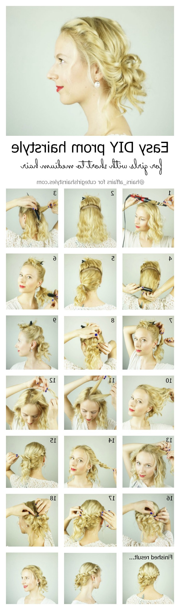 Most Recent Cute Medium Hairstyles For Prom Throughout Easy Diy Prom Hairstyle For Girls With Short To Medium Hair With (View 17 of 20)