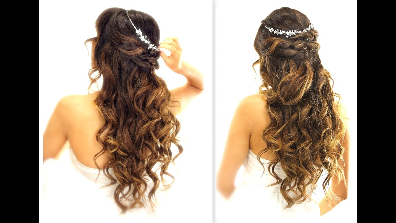 Most Recent Half Long Half Medium Haircuts Inside ☆ Easy Wedding Half Updo Hairstyle With Curls (View 13 of 20)