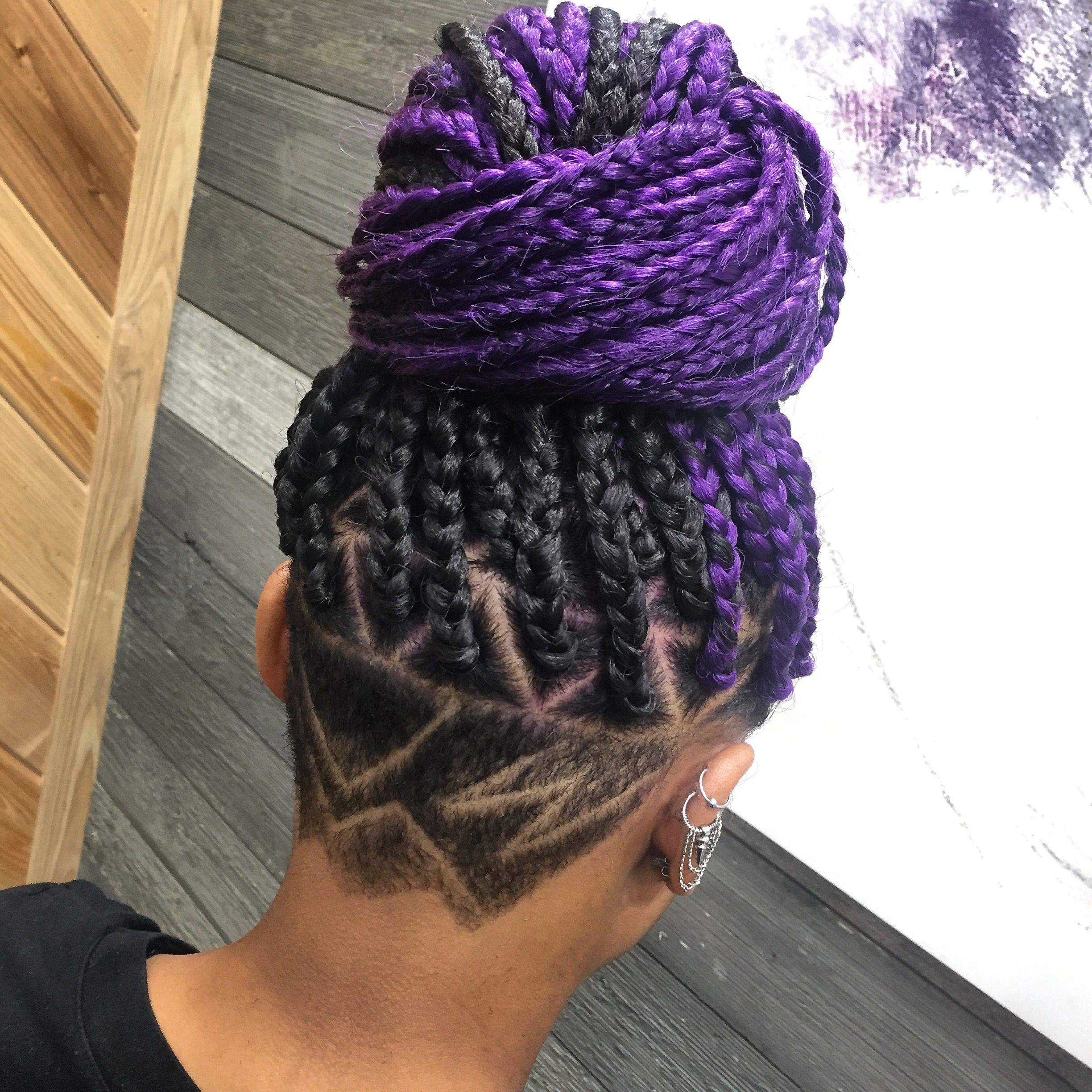 Most Recent Lavender Braided Mohawk Hairstyles Within Purple Box Braids With Undercut Design (View 15 of 20)