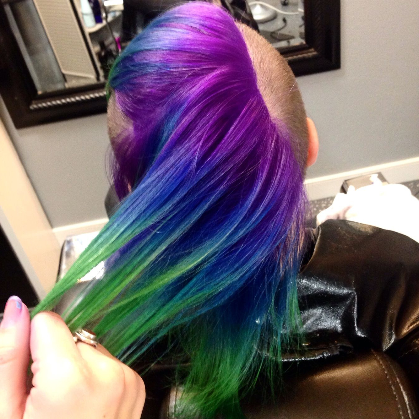 Most Recent Lavender Ombre Mohawk Hairstyles In Purple Blue Green Peacock Ombré On A Mohawk! Pravana Hair (View 11 of 20)