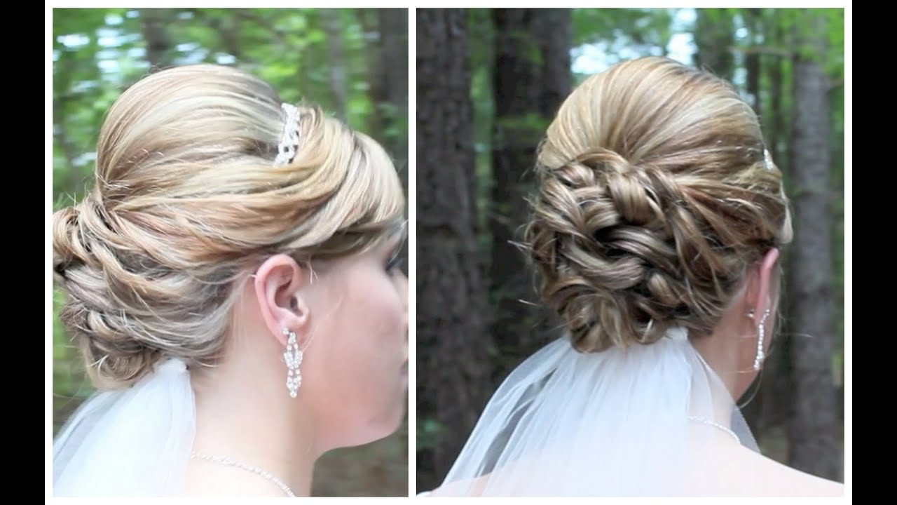 Most Recent Medium Hairstyles For Brides Within Bridal Updo On Shoulder Length Hair – Youtube (View 11 of 20)
