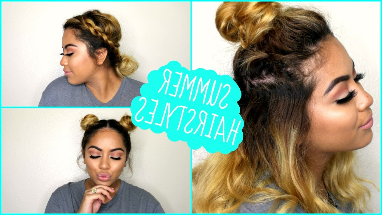 Most Recent Medium Hairstyles For Summer Throughout 3 Quick & Easy Hairstyles For Short Medium Length Hair! // Summer (View 15 of 20)