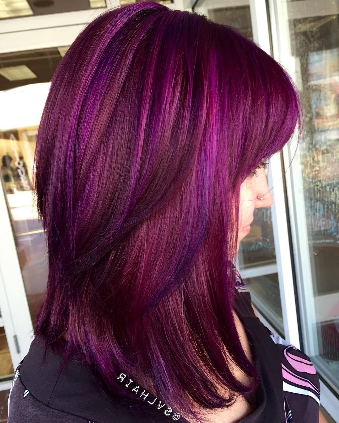 Most Recent Purple Medium Hairstyles Intended For 70 Brightest Medium Layered Haircuts To Light You Up In (View 16 of 20)