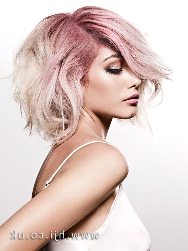 Most Recent Voluminous Wavy Layered Hairstyles With Bangs With Regard To Women Hairstyle : Voluminous Wavy Bob Platinum Blonde With Pink Root (View 11 of 20)