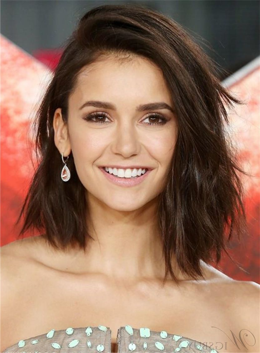 Most Recently Released Medium Hairstyles To One Side Throughout One Side Part Mid Length Lob Brown Layered Synthetic Hair Straight (View 17 of 20)