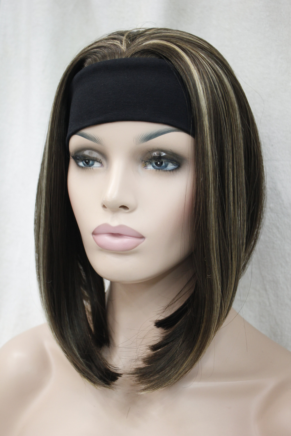 Most Recently Released Medium Hairstyles With Headband With Regard To Cute Short Straight Medium Brown With Ginger Highlight 3/4 Wig With (View 14 of 20)