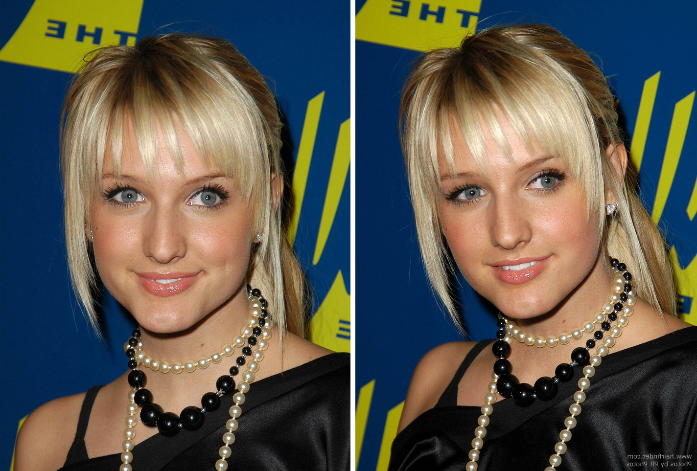Most Up To Date Ashlee Simpson Medium Hairstyles Within Ashlee Simpson With Her Hair In A Simple Ponytail And Wearing A (View 6 of 20)